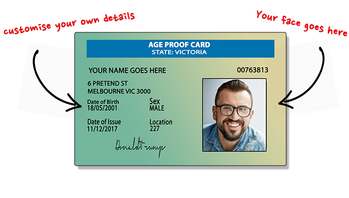 Fakies - A For Australia Just Buy Inc 60 'fake Novelty Id' Shipping